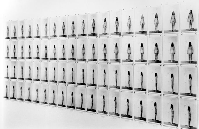Eleanor ANTIN  Carving: A Traditional Sculpture  1973 Installation View 148 B/W photographs & text panel 7 x 5 inches each Collection of The Art Institute of Chicago Courtesy Ronald Feldman Fine Arts, New York